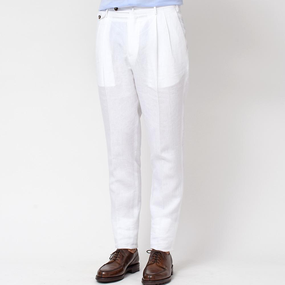 紳士の夏にはリネンの本格トラウザーズが必須!?<br>PT01 THE DRAPER リネン ソリッド 2プリーツ パンツ