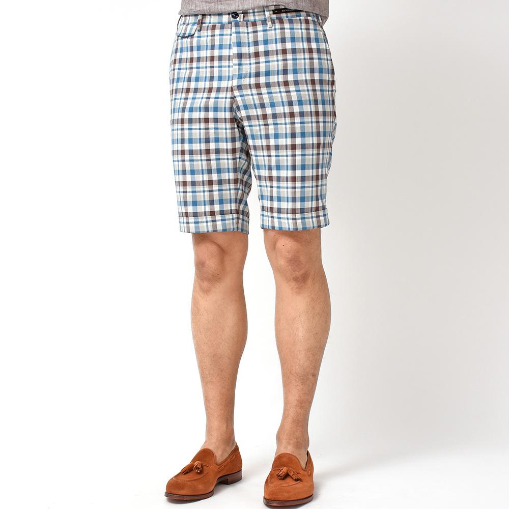 大人が履くからこそカッコいい!<br>PT01 Havelock Island コットン チェック ノープリーツ ショートパンツ