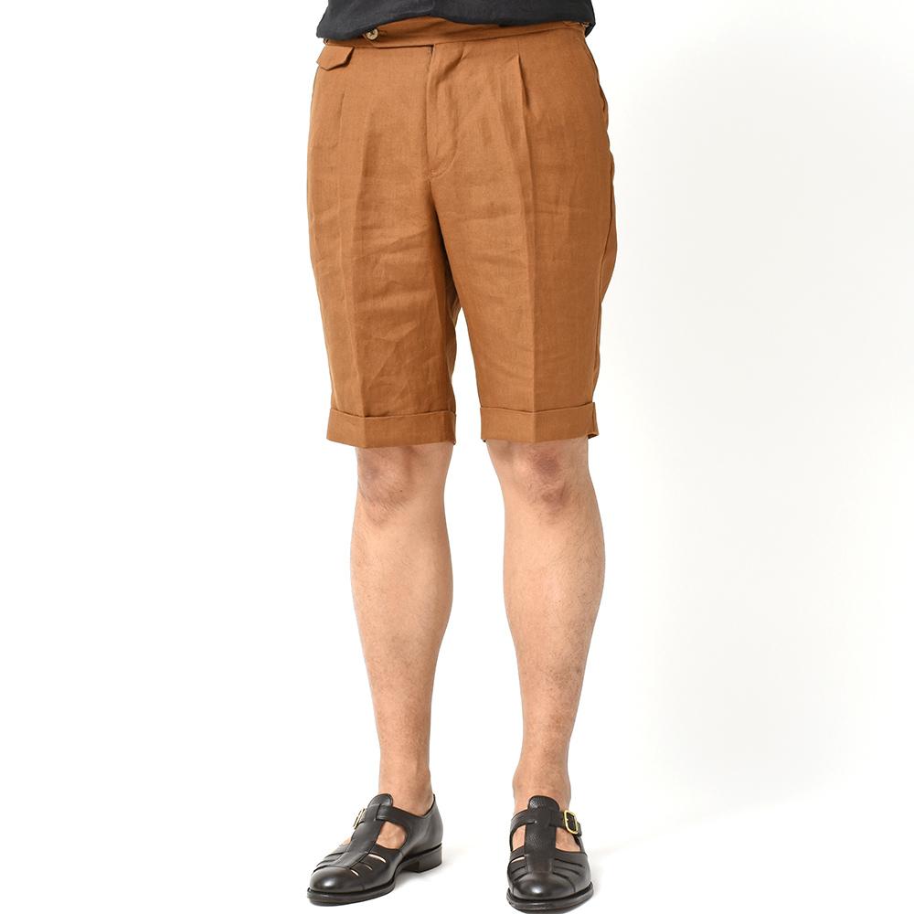 夏のお洒落はディテールが命!!<br>PT01 Madras リネン サイドアジャスター 1プリーツ ショートパンツ